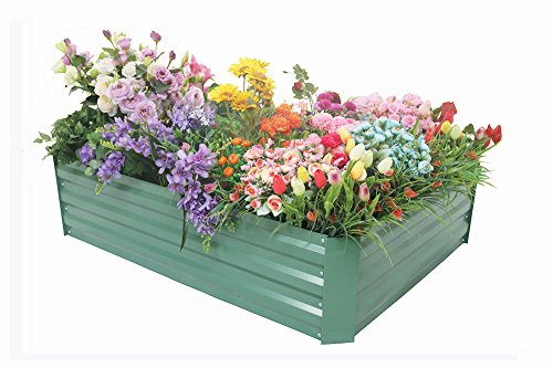 Cheap FOYUEE Raised Garden Bed Boxes, Elevated Garden Planting Beds for Growing at Home-a Wonderful Decoration in the Yard 4x3x1 Feet(Green Matte)