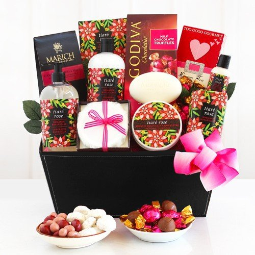 Luxuriating Rose Spa Gift Basket for Women