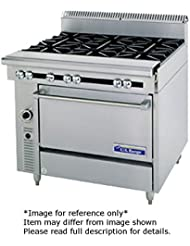 Garland C0836 14M Cuisine Series Heavy Duty 36 Gas Range With 2 30 000 BTU Open Burners Left 1 18 Even Heat Hot Top Right Modular Base