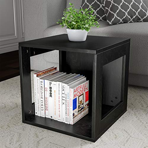 Cube Accent Table - Lavish Home 80-MOD-2 End Stackable Contemporary Minimalist Modular Cube Accent Table with Open Sides for Bedroom, Living Room or Office (Black),