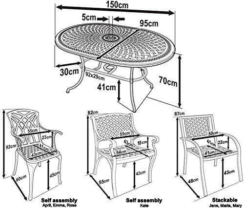 00a1e4b36117 Lazy Susan Furniture - June 150 x 95 cm Oval 6 Seater Cast Aluminium Garden  Set - Antique Bronze (April chairs)  Amazon.co.uk  Kitchen   Home
