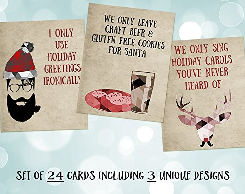 Funny Christmas Cards, Hipster Holiday Cards, Hipster Santa, Holiday, Gluten Free, Beer, Nondenominational, Ironic, Funny Greeting Cards, 24 Pack Assorted Hipster Christmas Cards with White Envelopes by The Invite Lady