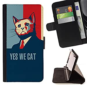 Super Marley Shop - Leather Foilo Wallet Cover Case with Magnetic Closure FOR Sony Xperia Z3 D6653- Yes we Cat