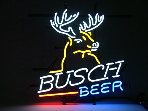 Urby™ Busch Beer Deer Real Glass Neon Light Sign Home Beer Bar Pub Recreation Room Game Room Windows Garage Wall Sign 18''x14'' A11-02 (Led Deer)