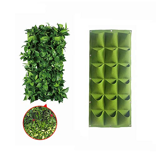 DBS 18 Pockets Wall Hanging Planter Bags Wall-Mounted Growing Bags for Indoor/Outdoor Vertical Hanging Wall Planter Green Planter Pouch - Pockets 18 Hanging