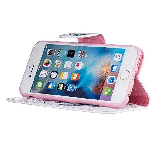 Para Apple iPhone 6/6S(4.7 Zoll) funda, (Bailarina de mariposas) caja del teléfono de la PU patrón en pintado ,Función de Soporte Billetera con Tapa para Tarjetas soporte para teléfono Mariposa de melocotón