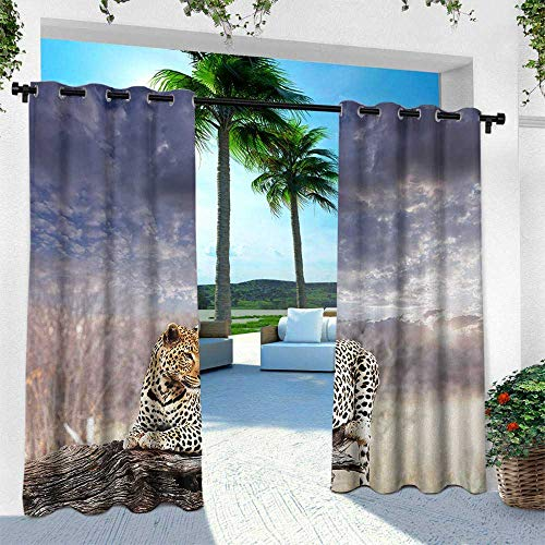 Beaded Leopard Shade - Hengshu Safari, Outdoor Privacy Curtain for Pergola,Leopard on Tree Trunk Under Last Sunlights of The Day Sunset Dark Cloudscape, W108 x L108 Inch, Grey and Beige