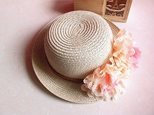 Rejected all traditions® Lightweight Beige Floppy Two Flowers Straw Beach Sun Hat Cap for Kids Girls