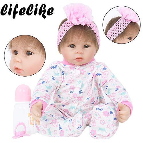 Birdfly Type:1104 Reborn Toddler Smile Baby 22 inch Doll Sit Artificial Elephant Rib Dress Girl Silicone Lifelike Toy