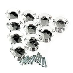 Tecrio 40mm Clear Crystal Glass Diamond Shape Cabinet Knob Drawer Cupboard Pull Handle 8pcs-Pack w/ 3 kinds of Screws