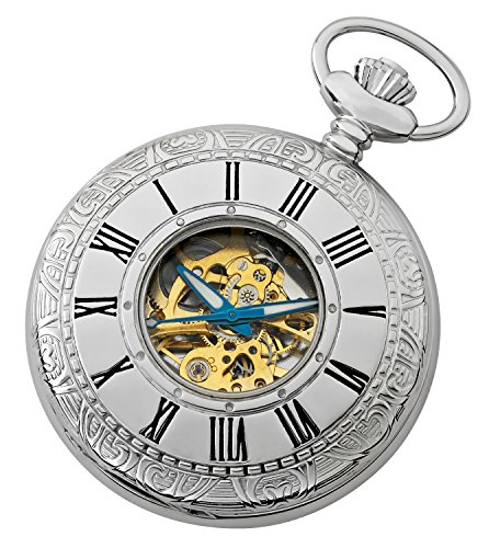 Gotham Men's Silver-Tone 17 Jewel Mechanical Covered Pocket Watch # GWC14036SG