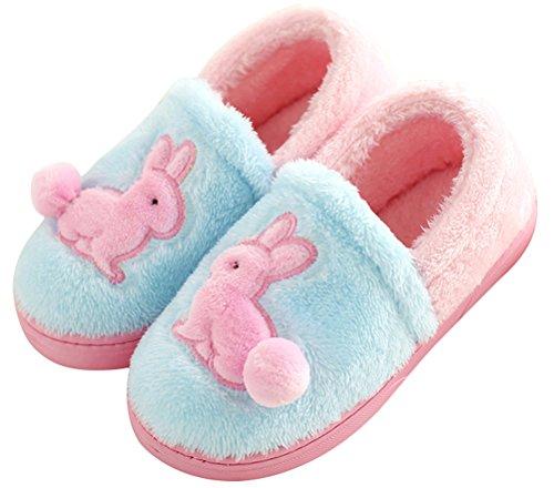 Namaakbont Pantoffels Voor Vrouwen Bedekken Hak, Warme Winter Schoenen Indoor Thuis Schoen Lichtblauw