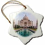 3dRose Danita Delimont - Travel - India. Agra, Portrait of the Taj Mahal with blue pond. - 3 inch Snowflake Porcelain Ornament (orn_276791_1)