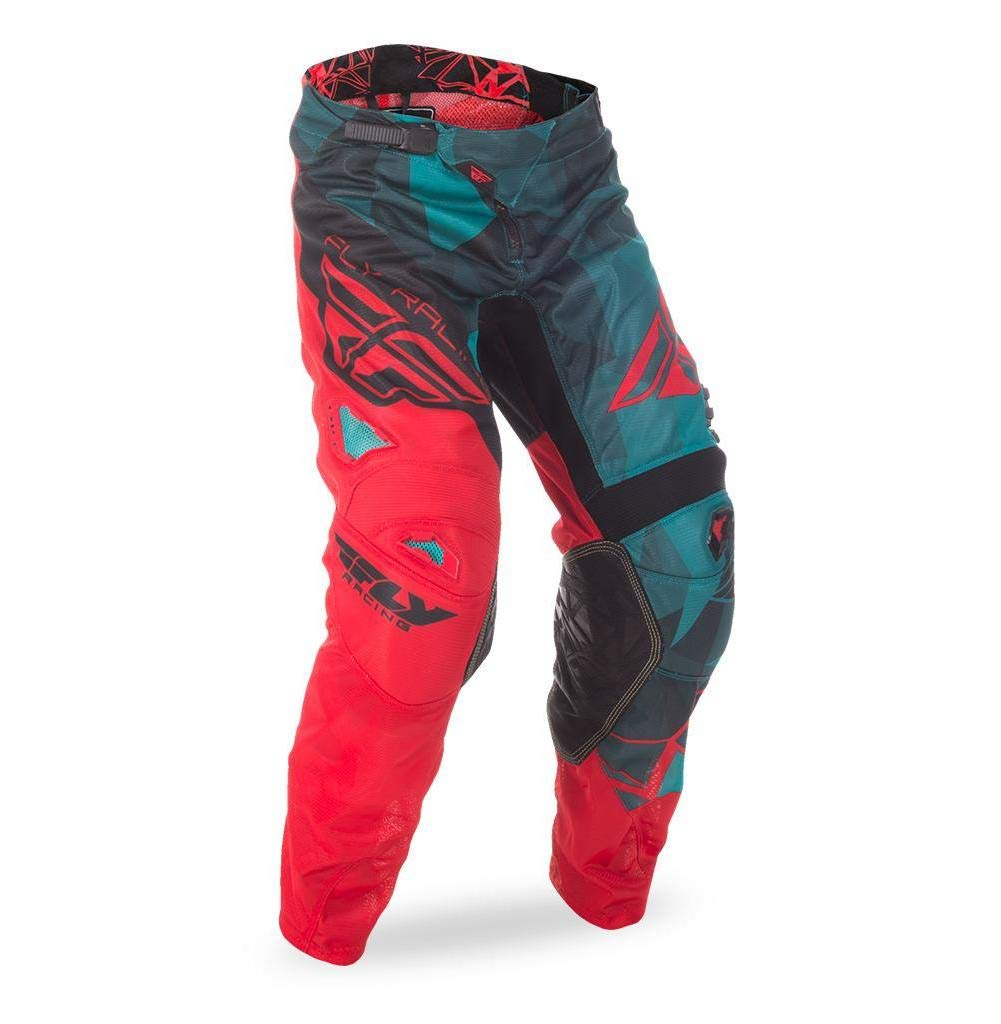 Fly Racing Unisex-Adult Kinetic Mesh Pants (Teal/Red/Black, Size 26) by Fly Racing