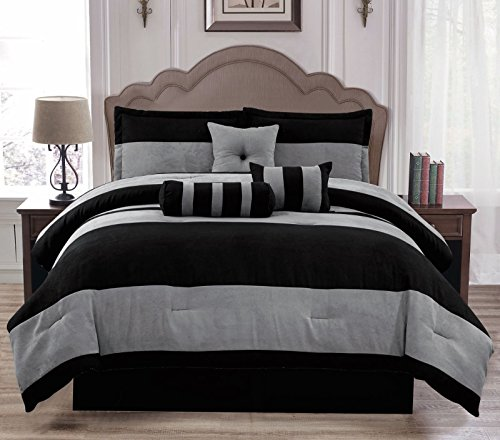 11 Piece Furniture (Anissa Collection Luxurious 11-Piece Micro Suede Soft Comforter Set & Bed Sheets Limited-Time SALE!! (Black & Gray VanDam, Full))