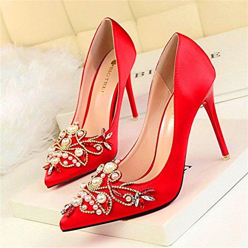 VIVIOO Pumps,Damen Pumpsfrauen Mode Perle Kristall High Heels Schuhe Frauen Spitz Flacher Samt Elegante Partei Schuhe
