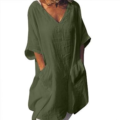 Womens Plus Size Linen Dress Crew Neck 3//4 Sleeve Loose Cotton Linen Top Shirt Dress Casual Summer Sundress with Pockets