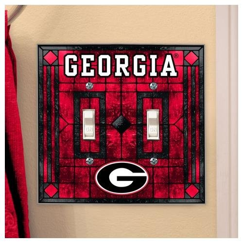 NCAA Georgia Bulldogs Art-Glass Double Switch Plate Cover