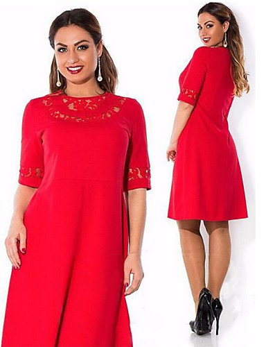 PU&PU Robe Aux femmes Trapèze Simple,Couleur Pleine Col Arrondi Mi-long Coton / Polyester , red-2xl , red-2xl