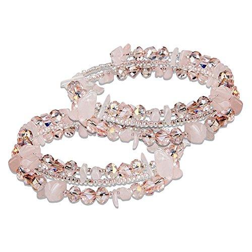 Crystal Stone Bracelet Bangle, 2 Packs Mothers Day Gifts, Valentine's Day, Womens Bracelet Stretch Zirconia Bracelets Multi Strands Elegance Romance Flexible Wristband ()