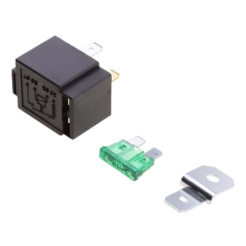 Dovewill 12V Relay 4 PIN Automotive 30AMP 30a Normally Open Contact Fused + 30a fuse 251a44a5a4ef34d2ecf9d00e5956c375
