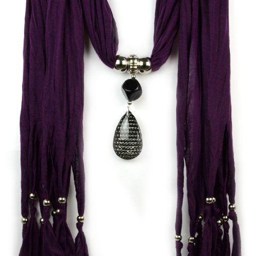 High Quality Cotton Fashion with Lady Large Resin Drop Style Pendant Design Purple Jewelry Scarf ,Nl-1222c