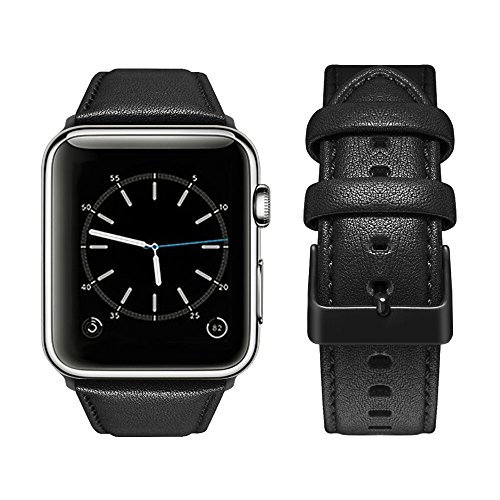 Black Matte Leather - top4cus Genuine Leather iwatch Strap Replacement Band Stainless Metal Clasp, Compatible Apple Watch Series 4 Series 3 Series 2 Series 1 and Sport Edition (42 mm, Matte Black)