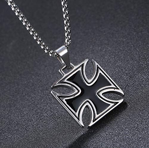 Nattaphol Mens Necklace Stainless Steel Vintage Knights Templar Iron Cross Pendant Necklace Women Biker Maltese Cross Jewelry