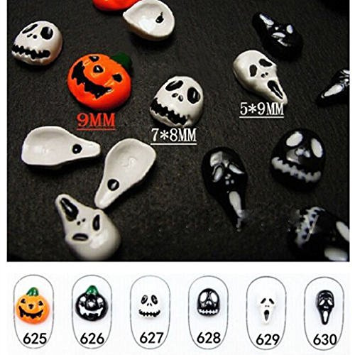 South Weekend 6pc Halloween Skull Bone Art Sticker Watermark Tattoos Nail Art Tips 2018 (K)