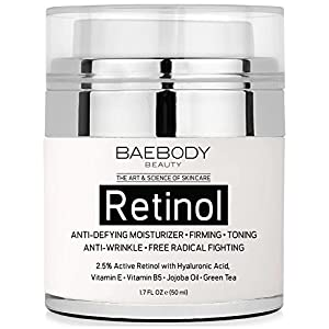Baebody Retinol Moisturizer Cream for Face, Neck and Décolletage with Wrinkle and Acne Fighting Retinol, Jojoba Oil and…