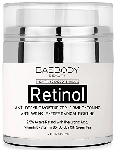 Baebody Retinol Moisturizer Cream for Face and Eye Area – With 2.5% Active Retinol, Hyaluronic Acid, Vitamin E. Anti Aging Formula Reduces Wrinkles, Fine Lines. Best Day and Night Cream. 1.7 Fl. Oz.