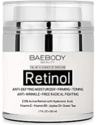 Baebody Retinol Moisturizer Cream for Face and Eye Area - With 2.5% Active Retinol, Hyaluronic Acid, Vitamin E. Anti Aging Formula Reduces Wrinkles, Fine Lines. Best Day and Night Cream 1.7 Fl. Oz