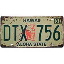 ERLOOD Hawaii DTX 756 Aloha State Retro Vintage Auto License Plate Tin Sign Embossed Tag Size 6 X 12