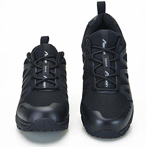 GLSHI Hombres al aire libre impermeable zapatillas respiratorias tactical botas hombres otoño invierno bajo 07 zapatillas de combate desierto botas al aire libre zapatos de senderismo Black