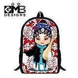Generic Peking Opera Printing School Backpack for Students Mens Fashion Hiking Bags