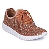 Women's Glitter Lace Up Fashion Sneakers Casual Dressy Versatile Fashion Light Weight Sparkle Slip On Wedge Platform Sneaker Rose Gold 6