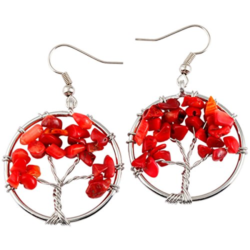 SUNYIK Red Coral Tree of Life Dangle Earrings for Women(Silver Plated) Bead Silver Plated Earrings