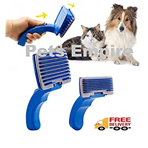 Pets Empire Pet Dog/Cat Grooming Self Cleaning Slicker Professional Brush Comb Hair Fur Shedding Tool (Medium)