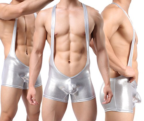 Yeke Men Sexy Body Leotard Freestyle Wrestling Singlet Backless Smooth Bodysuit (Sliver, M) by Yeke