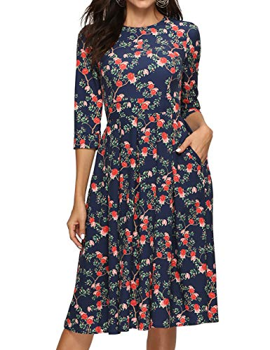 Simple Flavor Women's Floral Vintage Dress Elegant Midi Evening Dress 3/4 Sleeves (XH0360Navy, Small)