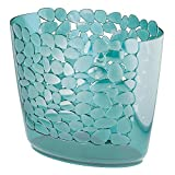 mDesign Decorative Slim Oval Small Trash Can Wastebasket, Garbage Container Bin for Bathroom, Powder Room, Bedroom, Kitchen, Kids Rooms, Craft Room, Office - Pebble Design, Blue