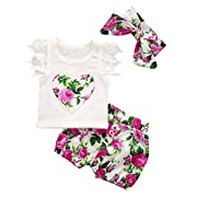 MIOIM 3pcs Infant Toddler Baby Girls Summer Clothes Lace Crochet Tops T-Shirt Floral Shorts Pants Outfits Set