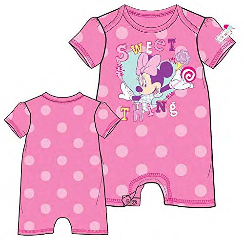 [Disney Minnie Mouse ' Sweet Thing ' Baby Girls Polka Dot Romper - Hot Pink] (Minnie Mouse Nose)