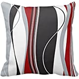 """DKISEE Wavy Vertical Stripes Red Black White and Grey Throw Pillow Cover Cushion Case 18"""""""