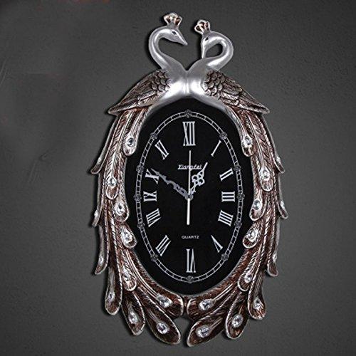 ヨーロッパスタイルのリビングルーム大きな壁時計モダンなレストランクォーツ時計孔雀クリエイティブウォールクロックベッドルームミュートポケット腕時計ダイヤモンド時計 (Color : Silver 2) B07CSM2LTY Silver 2 Silver 2