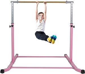 Gymnastics Bar for Kids Adjustable Horizontal Junior Training Kip Bars with Mat Optional Ideal for Gymnasts 1-4 Levels for Home