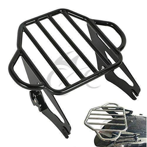 (TCMT Gloss Black 2-Up Luggage Rack Mount Fits For Harley Davidson Touring Models 2009-2019)