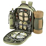 Picnic at Ascot - Deluxe Equipped 2 Person Picnic Backpack with Cooler, Insulated Wine Holder & Blanket - Olive Tweed