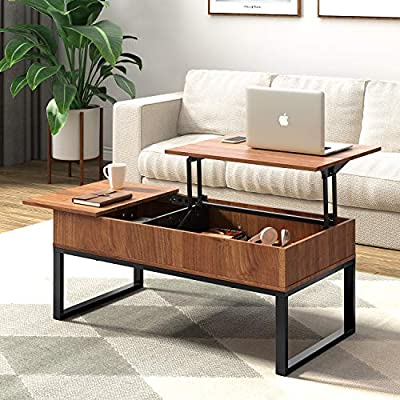 WLIVE Wood Lift Top Coffee Table with Hidden Storage Compartment, Side Drawer and Metal Frame, Lift Tabletop Dining Table for Home, Living Room, Office - 【Lift Top Design】This coffee table has an extending top that lifts up to provide a floating raised work surface, perfectly matches your needs, ideal for working, dining and extra storage in living room or office. 【Stable Lift Workbench】High quality lift top mechanism enables the tabletop to be lifted up or lowered down effortlessly and noiselessly. And the gas spring could make the tabletop more stable when lifting and lowering without sudden bounces and drops. 【Plenty of Storage Space】Large hidden compartment beneath the tabletop is enough to store your often-used items like laptop, chess, and remote controllers; Left drawer with smooth slides is easy to open and offers extra space for you. - living-room-furniture, living-room, coffee-tables - 51HY8RboOML. SS400  -