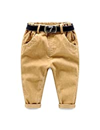 SPRMAG Little Boys Casual Solid Flat Front Dress Pants With Belt